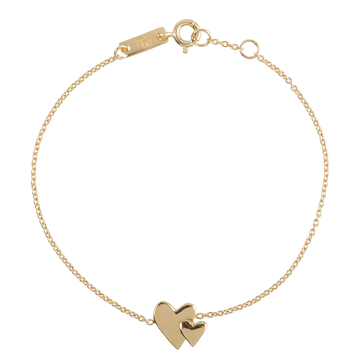 Our-hearts-beat-as-one-bracelet mère plaqué or