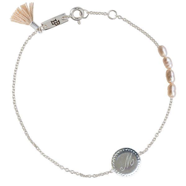 Initiaal moeder armband zilver