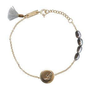bracelet fille initiale argent plaqué or