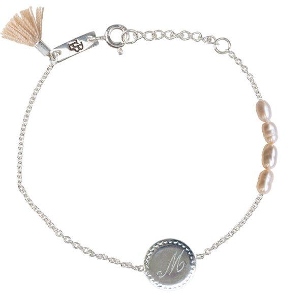 Nest Initiaal dochter armband zilver