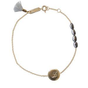 Bracelet mère initiale plaqué or