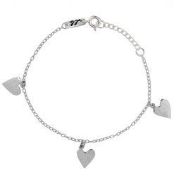 Heart charm engraved bracelet