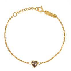 smokey quartz heart kids bracelet gold