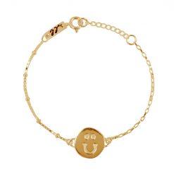 Happy bracelet kids gold plated